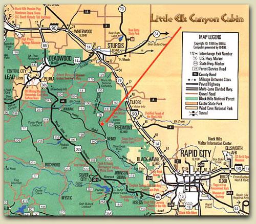 Directions Black Hills Lodging And Little Elk Cabin  Cottage